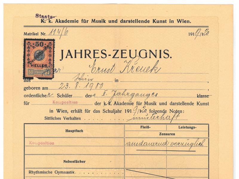 Zeugnis Ernst Krenek Staatsakademie für Musik und Darstellende Kunst Wien, 1920
