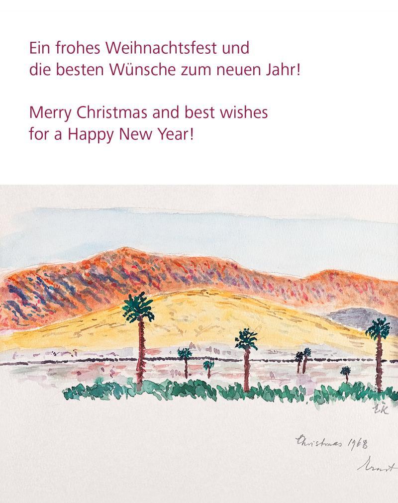 Frohe Weihnachten! Aquarell von Ernst Krenek